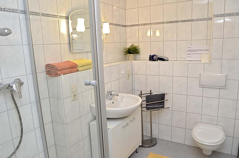 Modernes Bad mit Dusche und WC, Fön und Handtücher werden gestellt. Ferienwohnung Esther, Neustadt/Weinstraße - Geinsheim